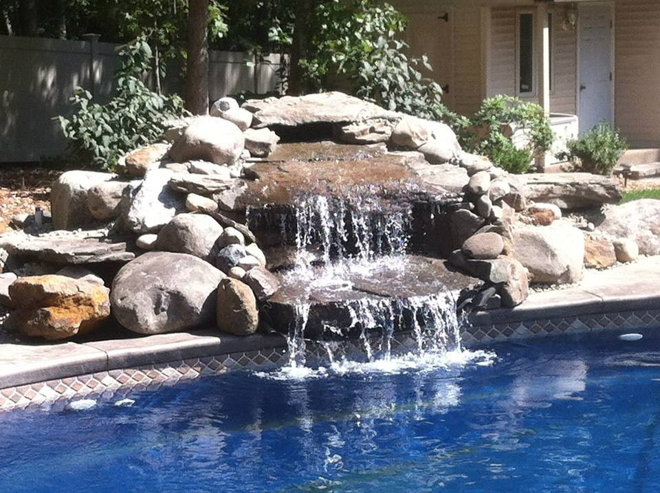 poolside stone waterfall